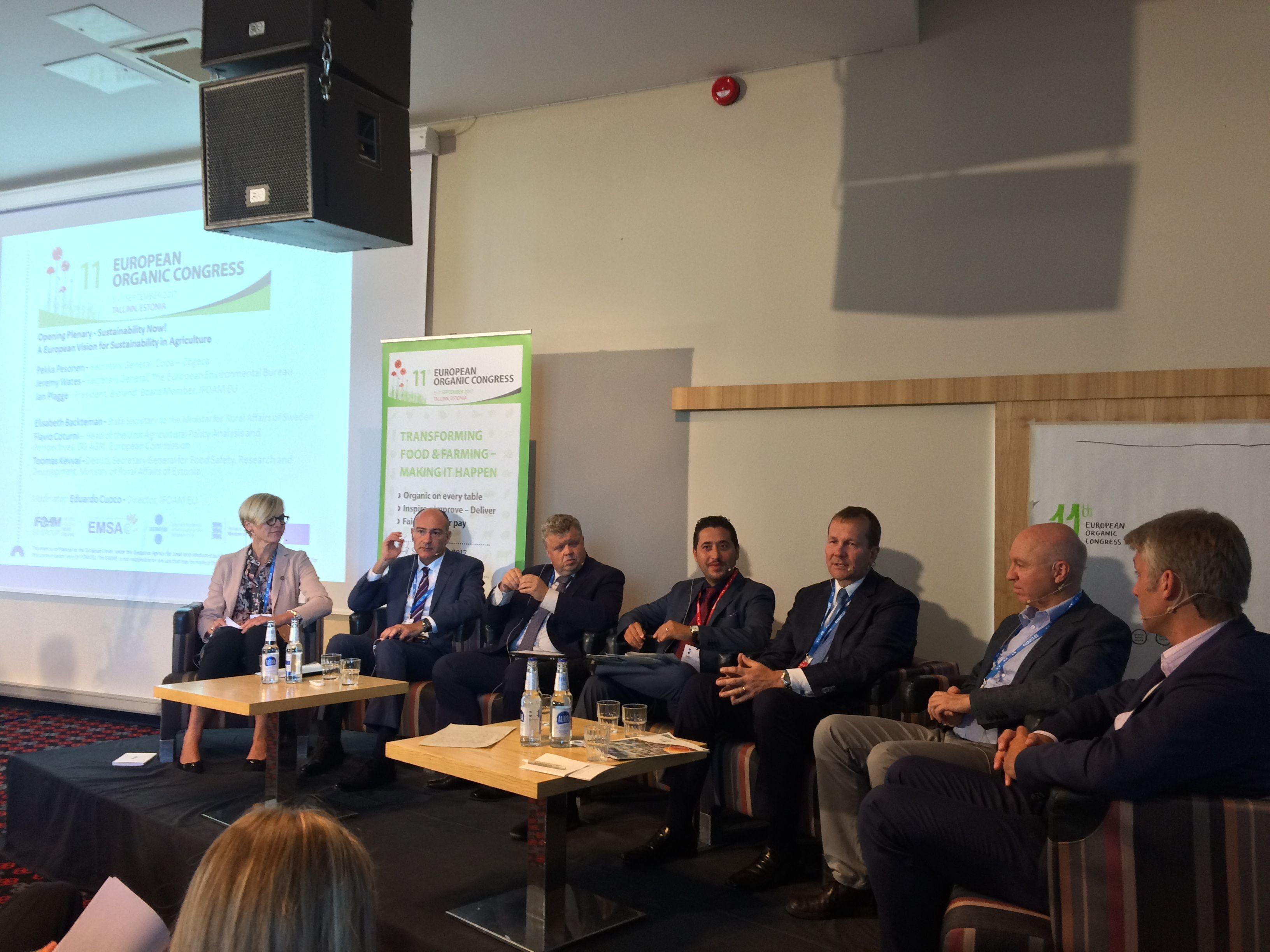 Opening Plenary - Sustainability Now! With Elisabeth Backteman, Flavio Coturni, Toomas Kevvai, Eduardo Cuoco (moderator), Pekka Personen Jeremy Wates and Jan Plagge
