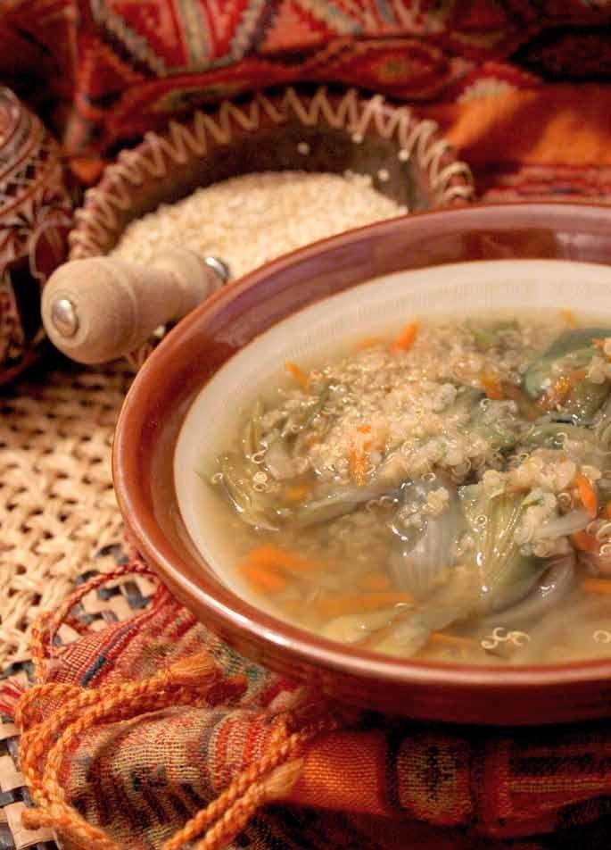 Receta: Sopa andina de quinoa con alcachofa y regalos del océano