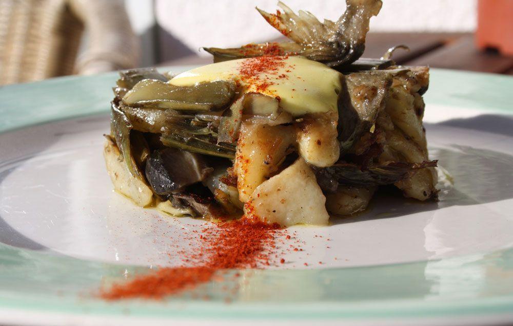 Receta: Timbal de patatas con verduras de invierno con alioli