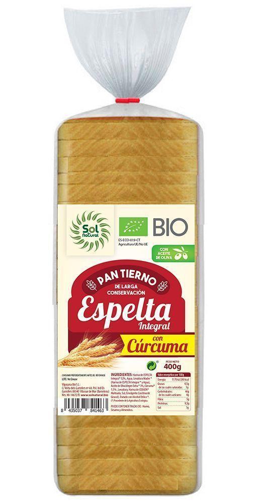Nuevo Pan Tierno de Espelta Integral con cúrcuma, de Sol Natural