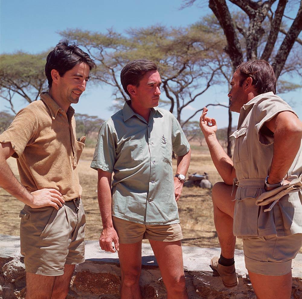 Jesús Mosterín, Hugo van Lawick y Felix Rodríguez de la Fuente en África (1969)
