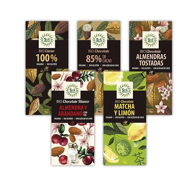 Nuevos Chocolates Veganos y Sin Gluten, de Sol Natural