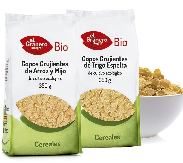 Nueva gama de copos crujientes de cereales 100% BIO, de El Granero Integral