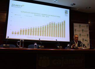 El sector ecológico de la Comunitat Valenciana generó 452 millones de euros en 2018 José Antonio Rico, presidente del CAECV, en la presentación de las estadísticas de producción ecológica en la Comunitat Valenciana de 2018