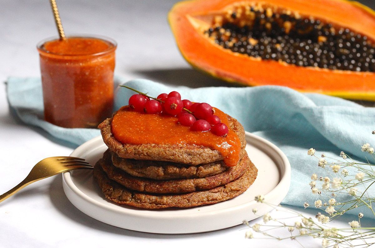 Receta: Pancakes de plátano macho con Mermelada de Papaya