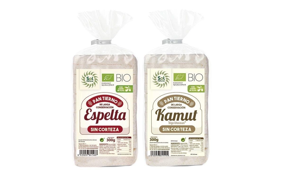 Pan tierno sin corteza de Espelta y Kamut®, de Sol Natural