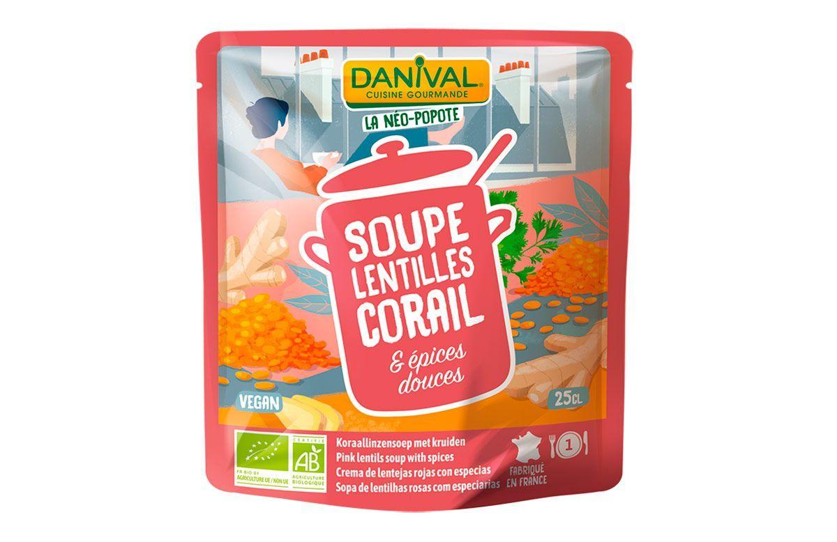 Crema de verduras, lentejas rojas y especias, de Danival