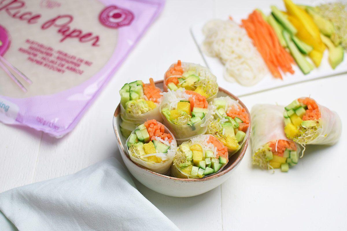 Receta: Rollitos de primavera frescos con mango, aguacate y zanahoria