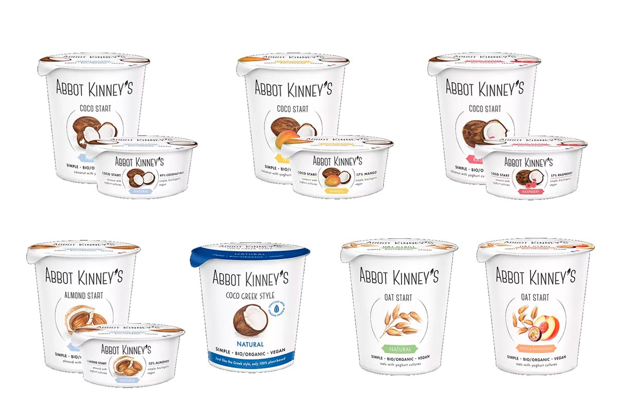 Yogures de coco, avena y almendra veganos y ecológicos, de Abbot Kinney's