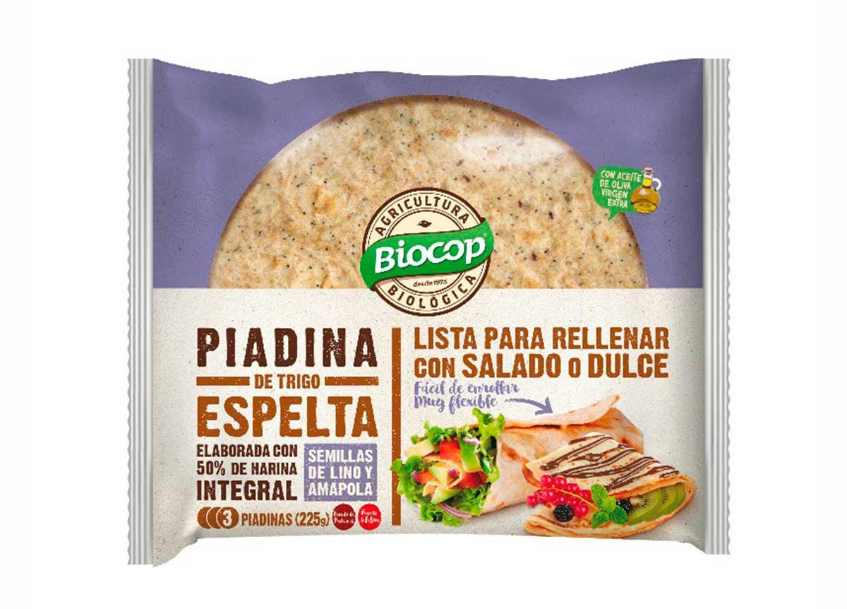 Piadinas de trigo espelta 50% integral Lino-Amapola, de Biocop