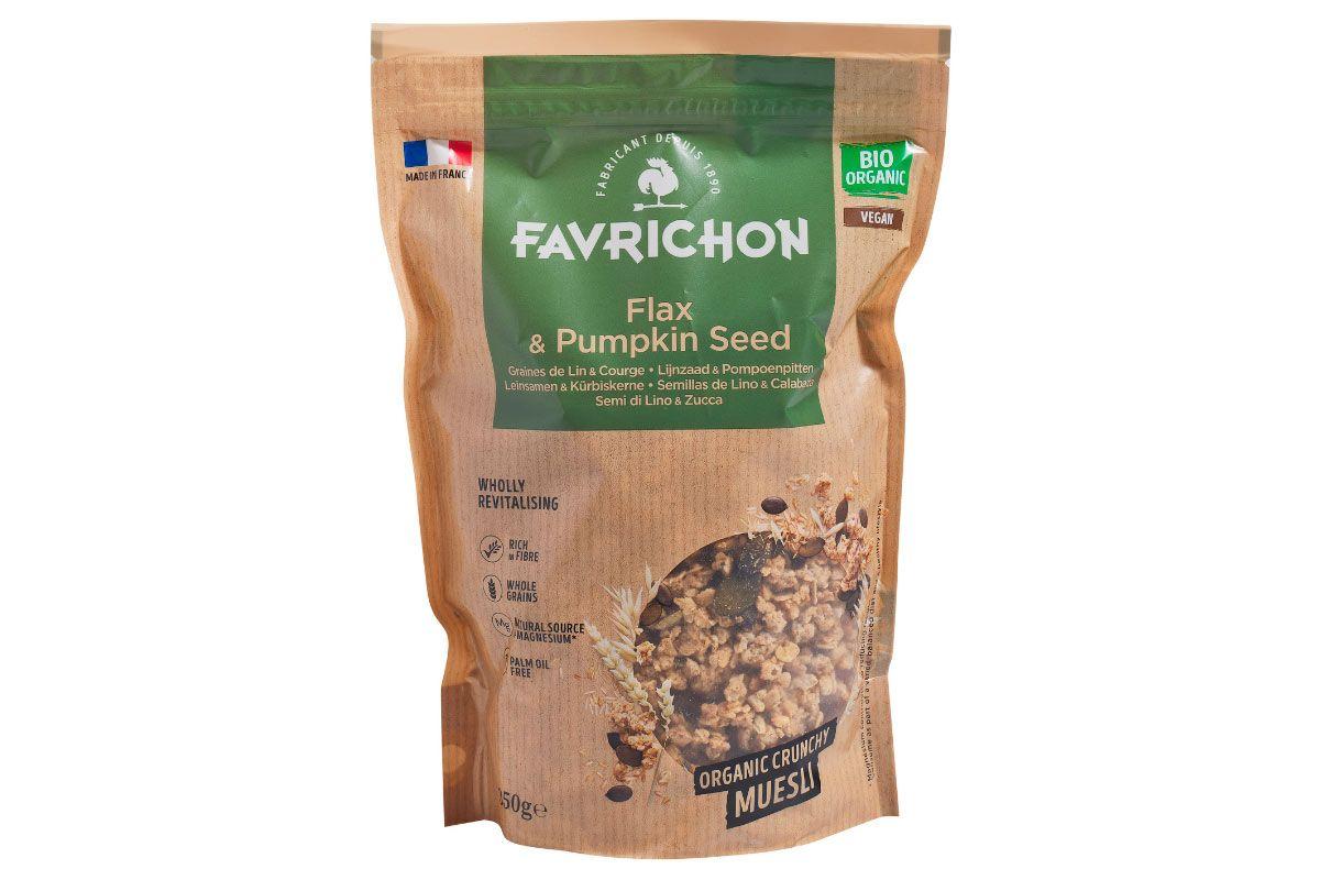 Muesli crujiente semillas de lino & calabaza, de Favrichon